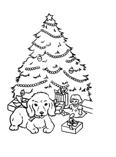 A Puppy Sitting In Front Of Christmas Trees Coloring Pages