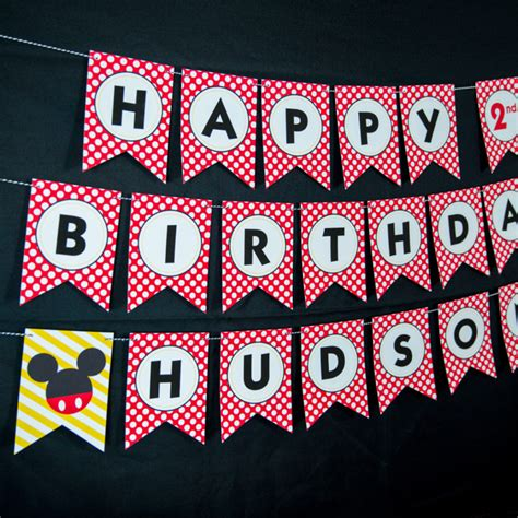 printable mickey birthday banner printable mickey mouse party banner 505 design inc