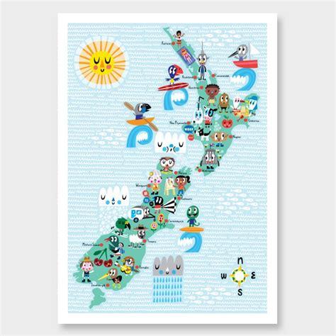 NZ Map Characters Kids Print by Beck Wheeler NZ Art Prints