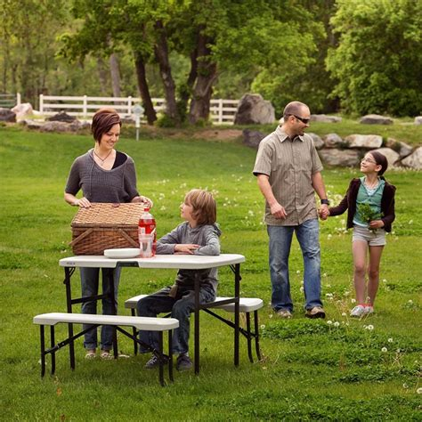 lifetime picnic table with benches lifetime folding picnic table with benches at homebase co uk