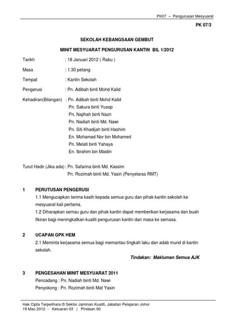 format laporan menghadiri mesyuarat minit mesyuarat kantin