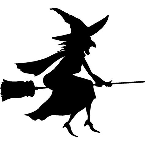 witch silhouette template traditional witch on broom sticker car and boat stickers