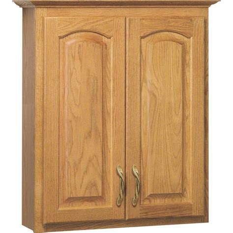 Oak Bathroom Wall Cabinets Shop Project Source 25 5 In W X 29 In H X 7 5 In D Golden Bathroom Wall Cabinet At Lowes