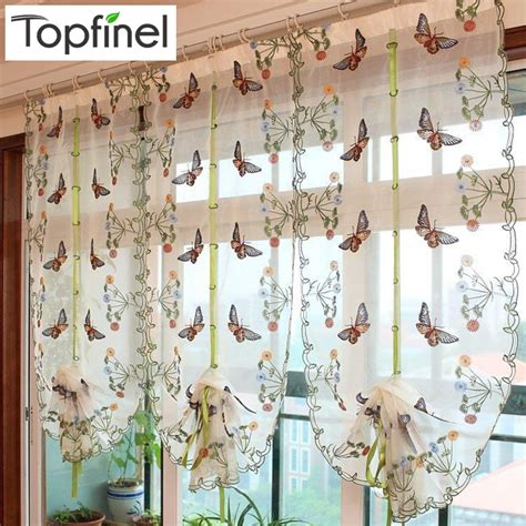 2016 Butterfly Kitchen Curtains Tulle For Windows Sheer