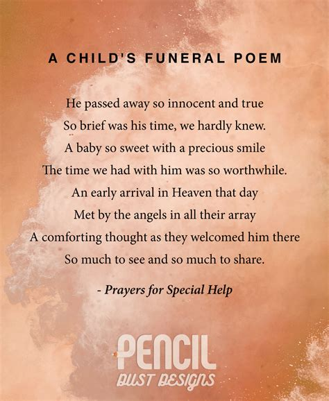 comforting words at a funeral a childs funeral poem a collection of semi religious