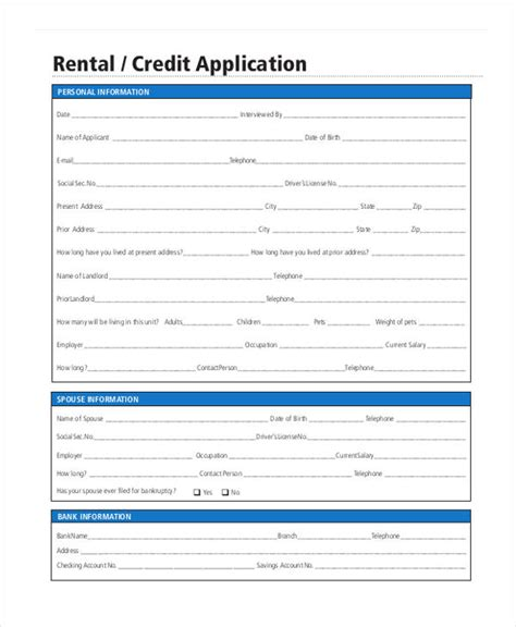 Credit Application Form Rental 7 Apartment Rental Application Form Free Sle Exle Format