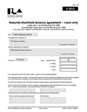 Assured shorthold tenancy agreement room only Fill Online