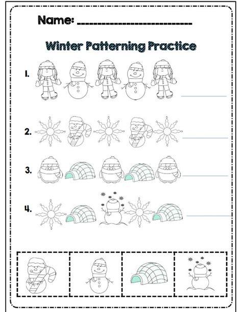 winter pattern worksheets for kindergarten kindergarten winter math literacy common core activities