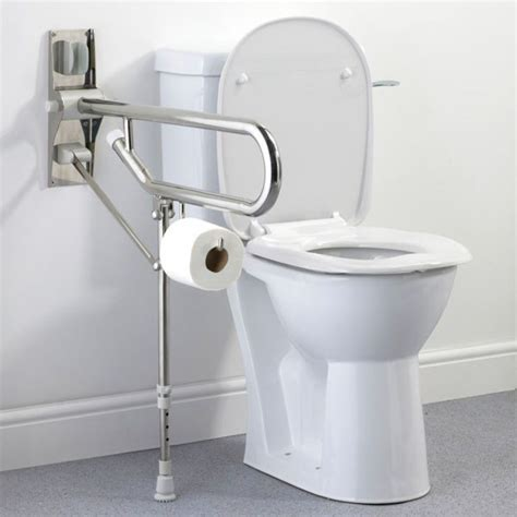 broken down in bars and bathrooms stainless steel drop down toilet support rail grab handle