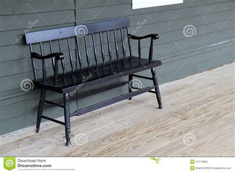 black porch bench old black bench on wood porch stock photo image 41173903