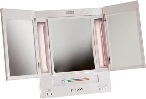 Tri Fold Makeup Vanity Mirror jerdon 5x magnification tri fold lighted makeup vanity
