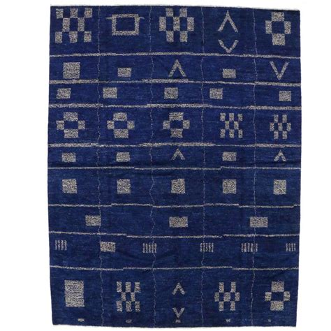 Cobalt Blue Area Rug Contemporary Moroccan Style Area Rug In Cobalt Blue At 1stdibs