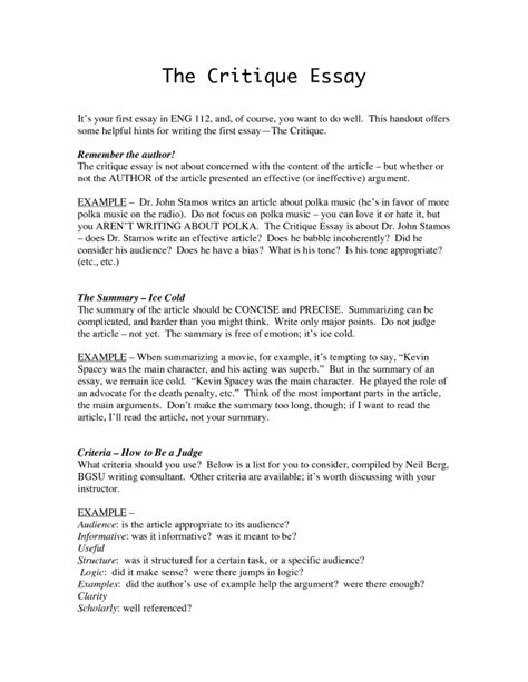 Exles Of Evaluation Essay by Critical Essay Topics Docoments Ojazlink