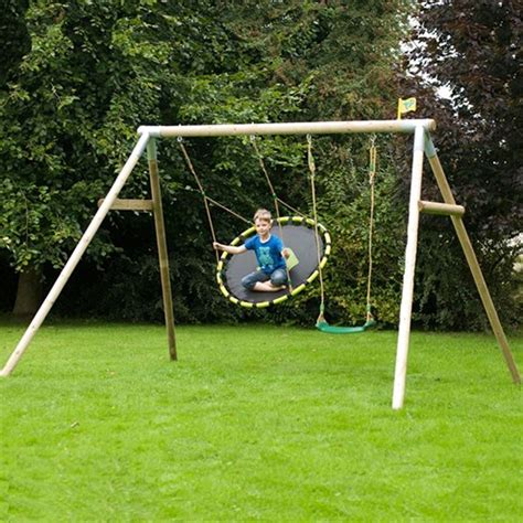 swing round tp knightswood triple wooden swing frame set 2 tp 803 set 2 outdoor play equipment