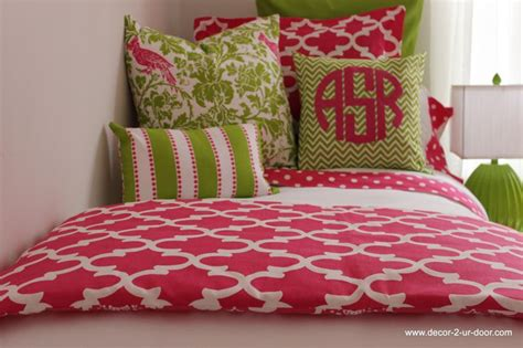 College Room Bedding by Preppy Pink Green Room Bedding Monogrammed