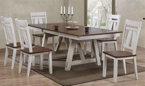two tone dining table set bernards winslow 7 two tone refectory table set