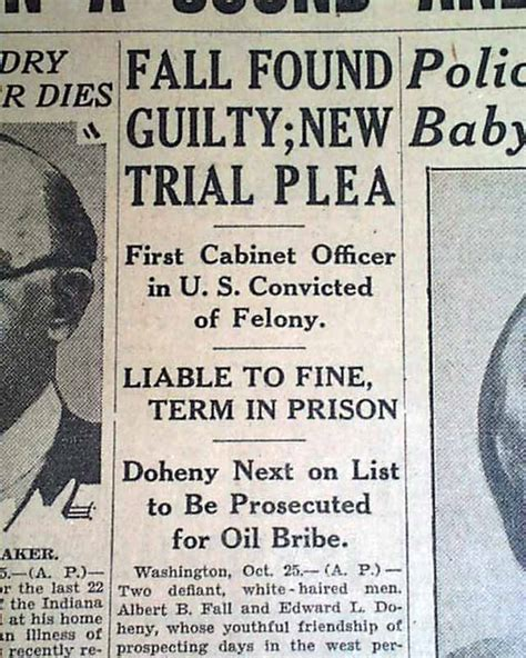 1920s Cabinet Albert Fall Guilty In Teapot Dome Scandal