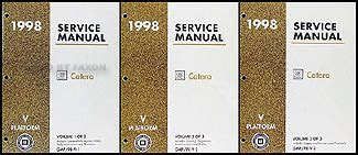 service manual 1998 cadillac eldorado service manal 1998 cadillac catera owners repair 1998 cadillac catera repair shop manual original 3 volume set