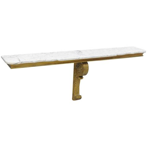 Console Wall Shelf by Baroque Style Marble Top Wall Mount Gold Painted Console Table Shelf For Sale At 1stdibs