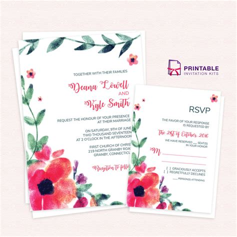 wedding invitations and rsvp artsy watercolor flowers wedding invitation and rsvp