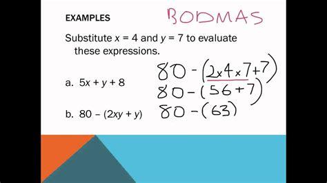 algebra substitution worksheets year 7 year 6 algebra