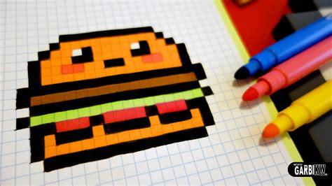 C Drawing Pixels by Handmade Pixel How To Draw Kawaii Hamburger