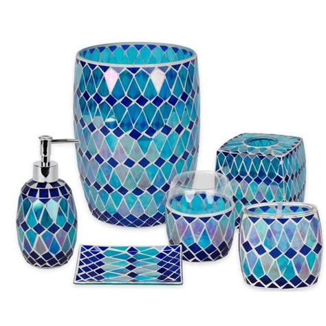blue mosaic bathroom accessories house decor ideas