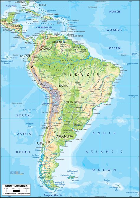 and south america map physical map of south america ezilon maps