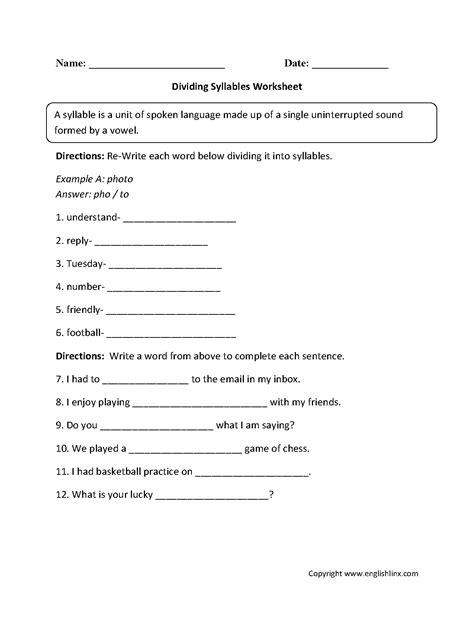 syllables worksheets 1st grade englishlinx syllables worksheets