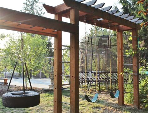 pergola swings sturdy swing set that will compliment a rustic backyard