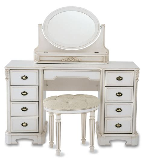 Glass Top Vanity Table White Glaze Wooden Vanity Make Up Table With Glass Top And Oval Swing Mirror Also Drawer