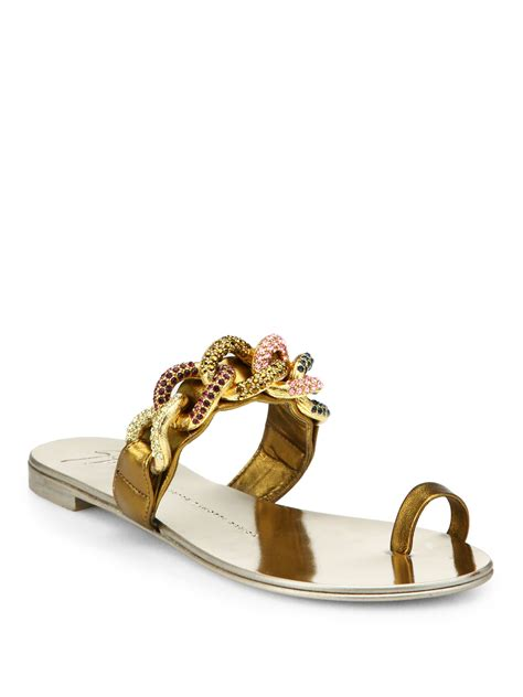 sandals with toe ring lyst giuseppe zanotti jeweled chain leather toe ring