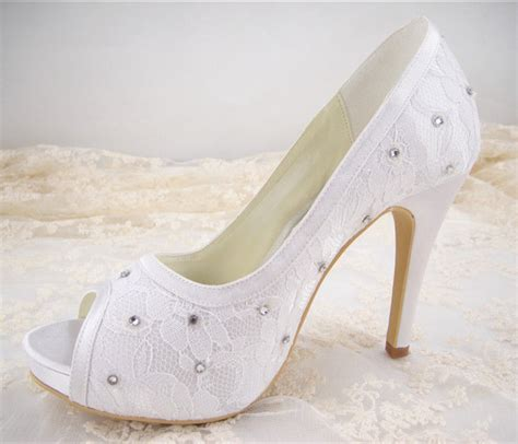Handmade Wedding Shoes Uk - handmade ivory rhinestone lace bridal shoes high heel