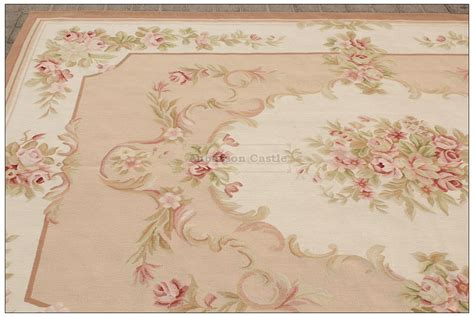blue ivory w pink rose aubusson area rug free ship wool