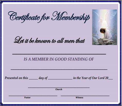 sle membership certificate church membership