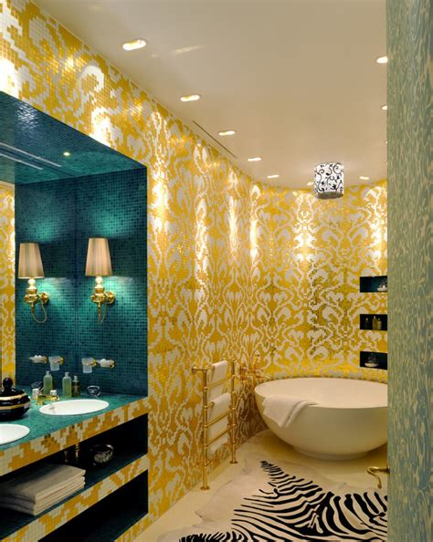 16 Gold Tile Bathroom Designs Decorating Ideas Design White And Gold Bathroom Ideas