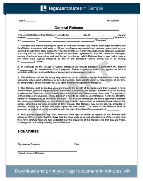 General Release Letter Sle Release Of Liability Create A Free Liability Waiver Form