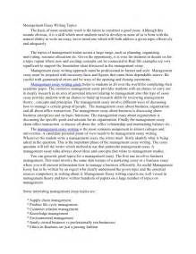 Topics For Writing An Essay by Management Essay Writing Topics