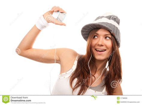 pretty woman mp3 woman listening music in headphones royalty free stock