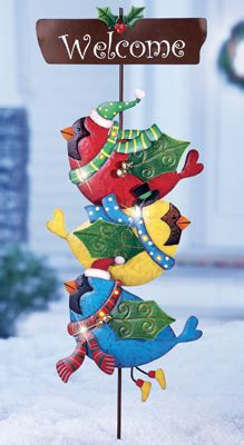 christmas welcome birds led stacked birds garden welcome stake from collections etc