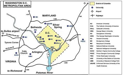 washington dc universities map location consortium of universities of the washington