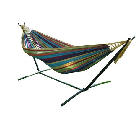 9 Ft Hammock vivere 9 ft cotton hammock with stand in tropical uhsdo9 20 the home depot