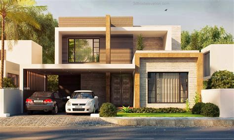 brown modern house front elevation modern house design