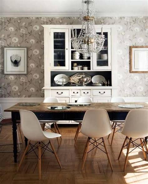 Dining Room With Gray Wallpaper Gray Flower Wallpaper Farm Table Midcentury Slope Chair