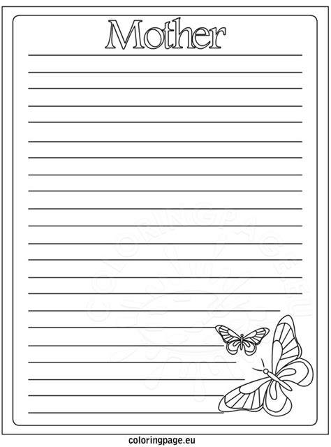 printable lined paper for mother s day writing paper mother s day coloring page