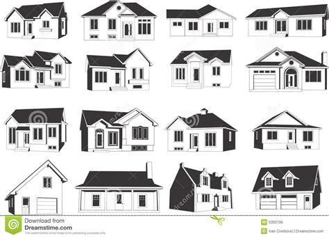 Set Houses Drawings Stock Photo Photo Vector Illustration | house icon set royalty free stock image image 5330706