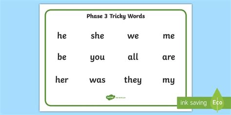 phase 2 word mat phase 3 tricky words word mat mats trick visual aid aids
