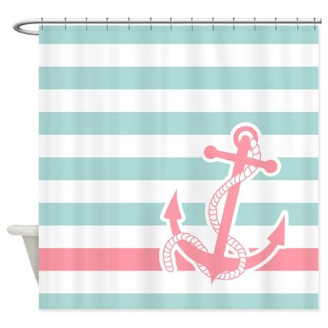 nautical stripe curtains nautical anchor stripe blue pink shower curtain by pinkinkart2