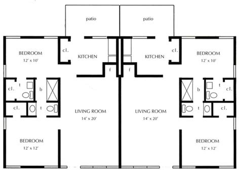 One Bedroom Duplex | one bed quadplex plans joy studio design gallery best