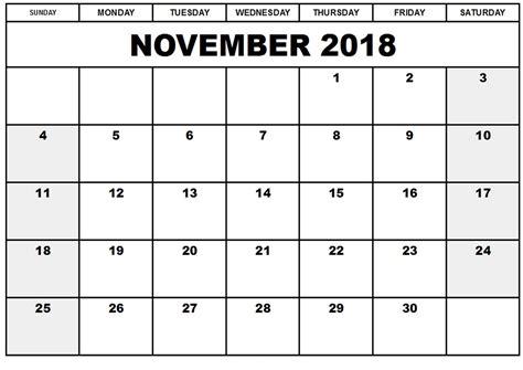 Kalender 2018 Zum Ausdrucken Und Bearbeiten Kalender November 2018 Zum Ausdrucken Pdf Excel Word